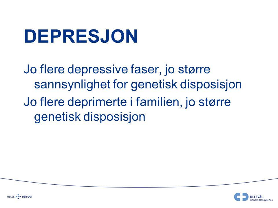 DEPRESJON Jo flere depressive faser, jo større sannsynlighet for genetisk disposisjon Jo flere deprimerte i familien, jo større genetisk disposisjon