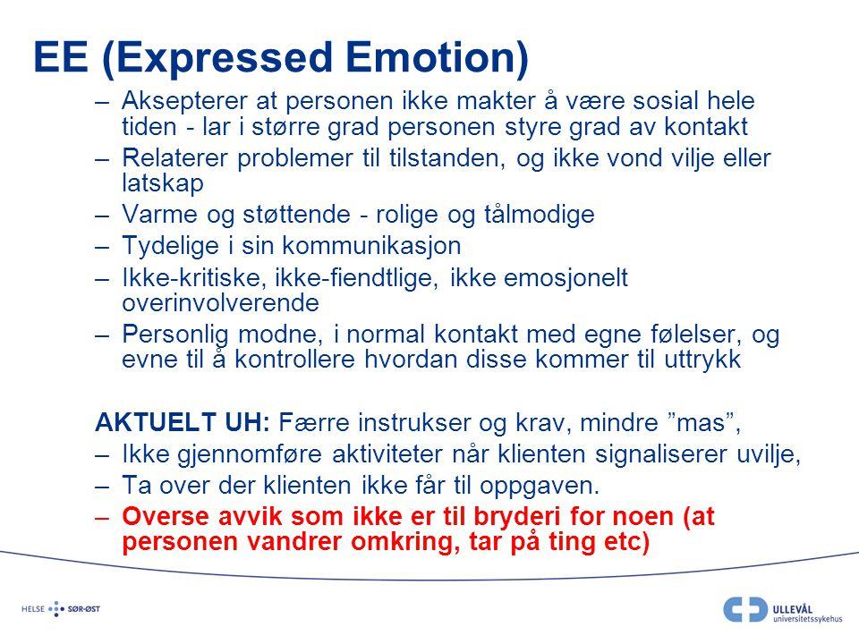 EE (Expressed Emotion) –Aksepterer at personen ikke makter å være sosial hele tiden - lar i større grad personen styre grad av kontakt –Relaterer prob