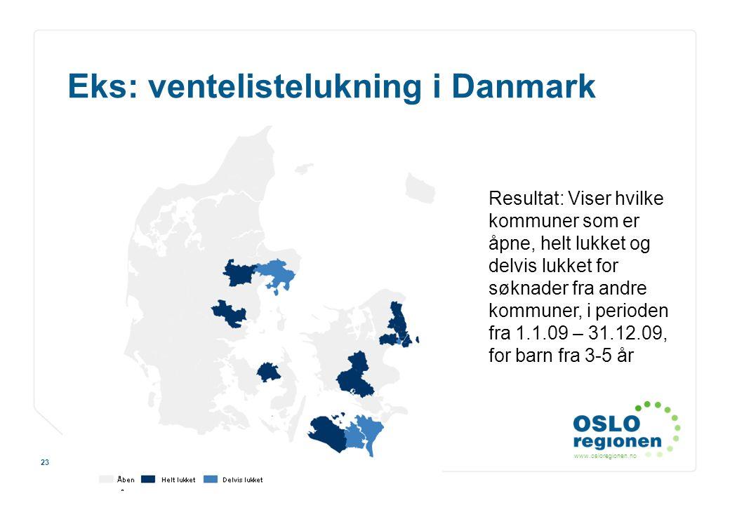 www.osloregionen.no 23 Eks: ventelistelukning i Danmark Resultat: Viser hvilke kommuner som er åpne, helt lukket og delvis lukket for søknader fra and