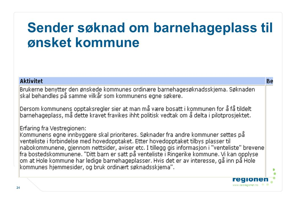 www.osloregionen.no 24 Sender søknad om barnehageplass til ønsket kommune