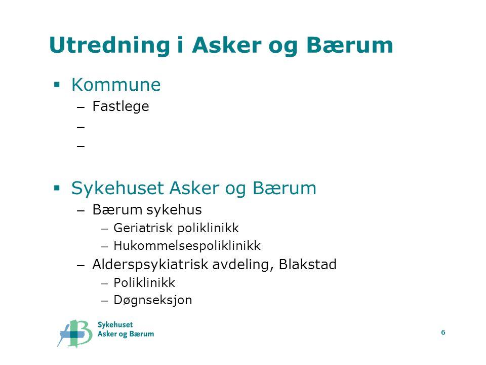 6 Utredning i Asker og Bærum  Kommune – Fastlege – Hjemmetjenesten ?? – Demensteam, koordinator ??  Sykehuset Asker og Bærum – Bærum sykehus – Geria