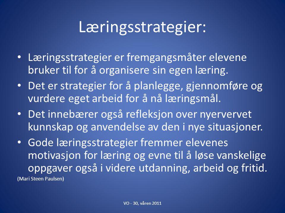 Læringsstrategier: Læringsstrategier er fremgangsmåter elevene bruker til for å organisere sin egen læring. Det er strategier for å planlegge, gjennom