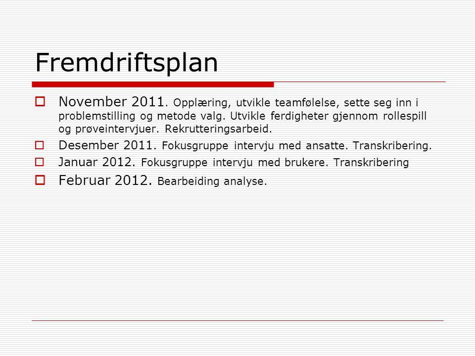 Fremdriftsplan  November 2011.
