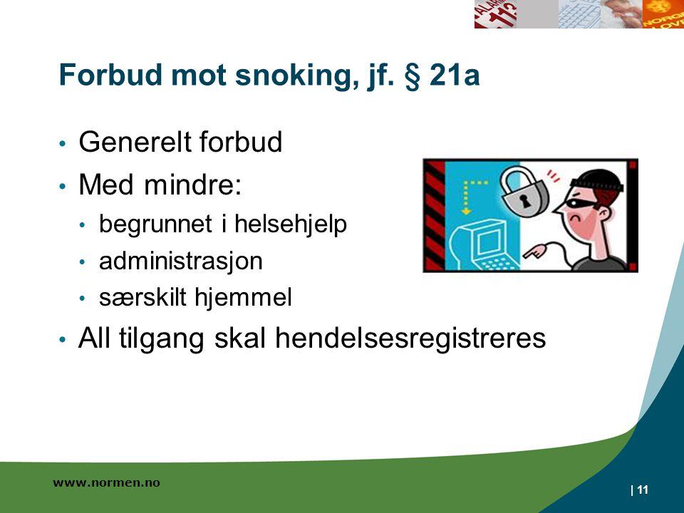 www.normen.no   11 Forbud mot snoking, jf. § 21a Generelt forbud Med mindre: begrunnet i helsehjelp administrasjon særskilt hjemmel All tilgang skal h