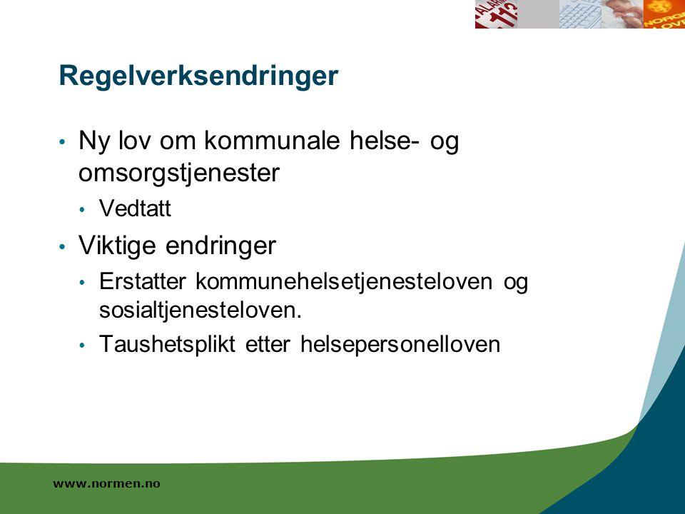 www.normen.no Regelverksendringer Ny lov om kommunale helse- og omsorgstjenester Vedtatt Viktige endringer Erstatter kommunehelsetjenesteloven og sosi