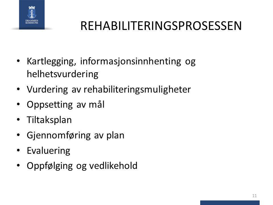 REHABILITERINGSPROSESSEN Kartlegging, informasjonsinnhenting og helhetsvurdering Vurdering av rehabiliteringsmuligheter Oppsetting av mål Tiltaksplan