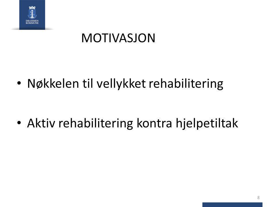 MOTIVASJON Nøkkelen til vellykket rehabilitering Aktiv rehabilitering kontra hjelpetiltak 8