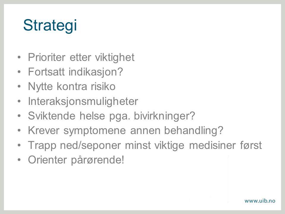 Strategi Prioriter etter viktighet Fortsatt indikasjon? Nytte kontra risiko Interaksjonsmuligheter Sviktende helse pga. bivirkninger? Krever symptomen