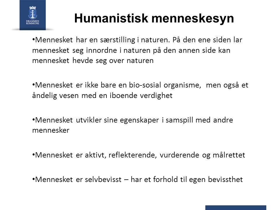 Humanistisk menneskesyn Mennesket har en særstilling i naturen. På den ene siden lar mennesket seg innordne i naturen på den annen side kan mennesket