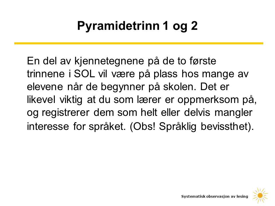 Systematisk observasjon av lesing Pyramidetrinn 3 og 4 Sjekk om eleven har tilegnet seg det alfabetiske prinsipp ved å ha jevnlige bokstavdiktater i klassen.
