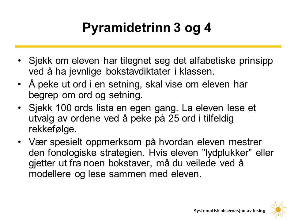 Systematisk observasjon av lesing Pyramidetrinn 3 og 4 Sjekk om eleven har tilegnet seg det alfabetiske prinsipp ved å ha jevnlige bokstavdiktater i k