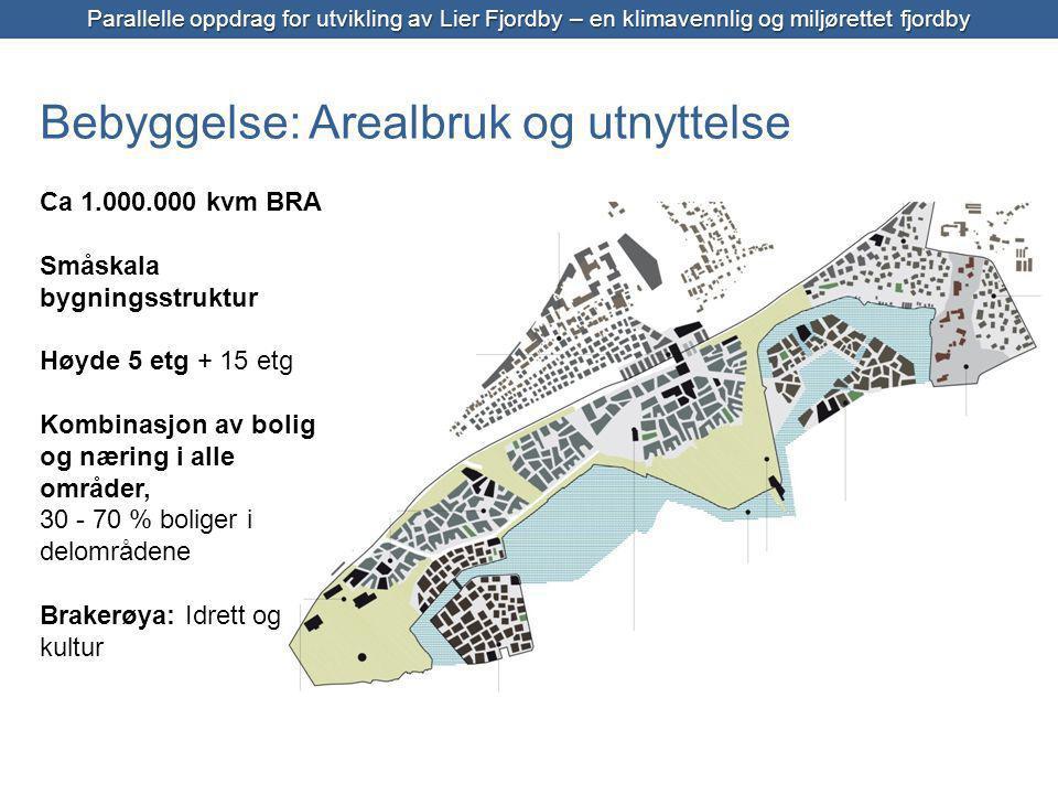 Bebyggelse: Arealbruk og utnyttelse Ca 1.000.000 kvm BRA Småskala bygningsstruktur Høyde 5 etg + 15 etg Kombinasjon av bolig og næring i alle områder, 30 - 70 % boliger i delområdene Brakerøya: Idrett og kultur Parallelle oppdrag for utvikling av Lier Fjordby – en klimavennlig og miljørettet fjordby