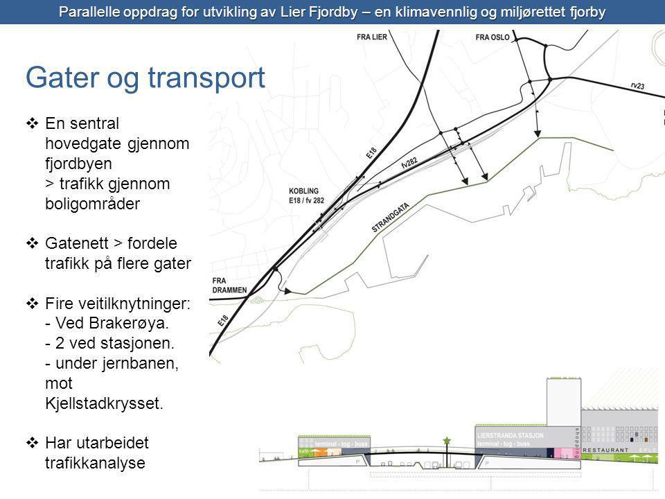 Parallelle oppdrag for utvikling av Lier Fjordby – en klimavennlig og miljørettet fjorby  En sentral hovedgate gjennom fjordbyen > trafikk gjennom boligområder  Gatenett > fordele trafikk på flere gater  Fire veitilknytninger: - Ved Brakerøya.