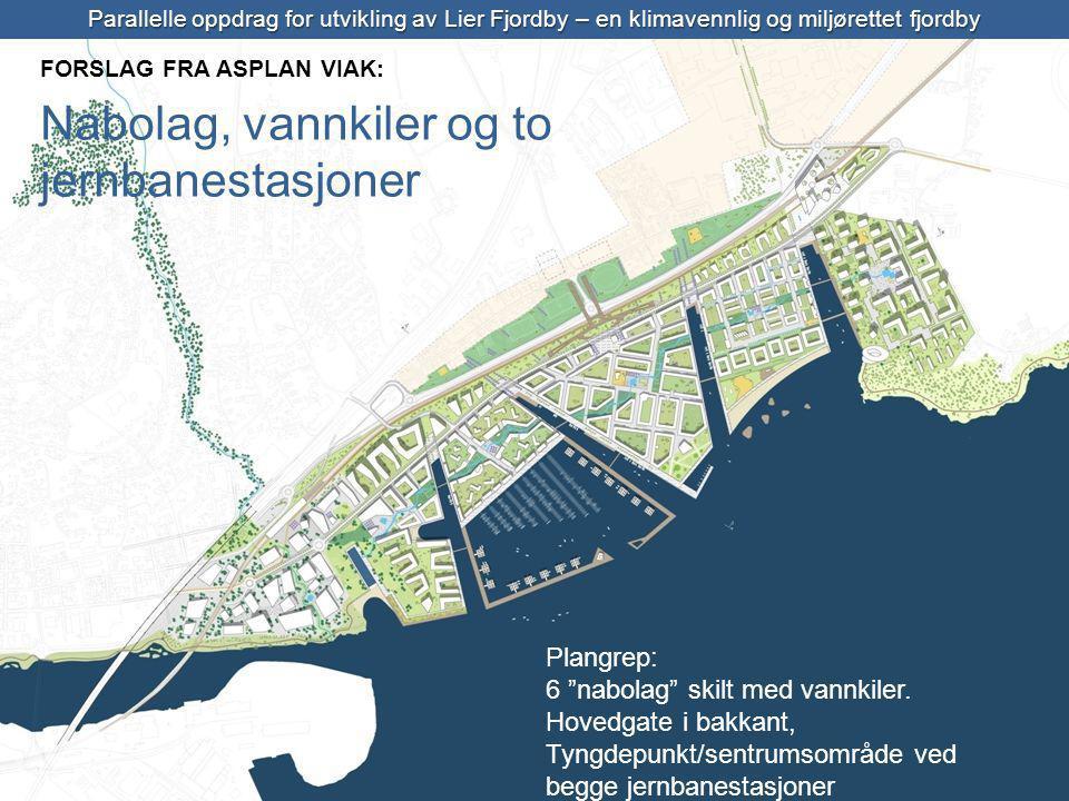Parallelle oppdrag for utvikling av Lier Fjordby – en klimavennlig og miljørettet fjordby Plangrep: 6 nabolag skilt med vannkiler.