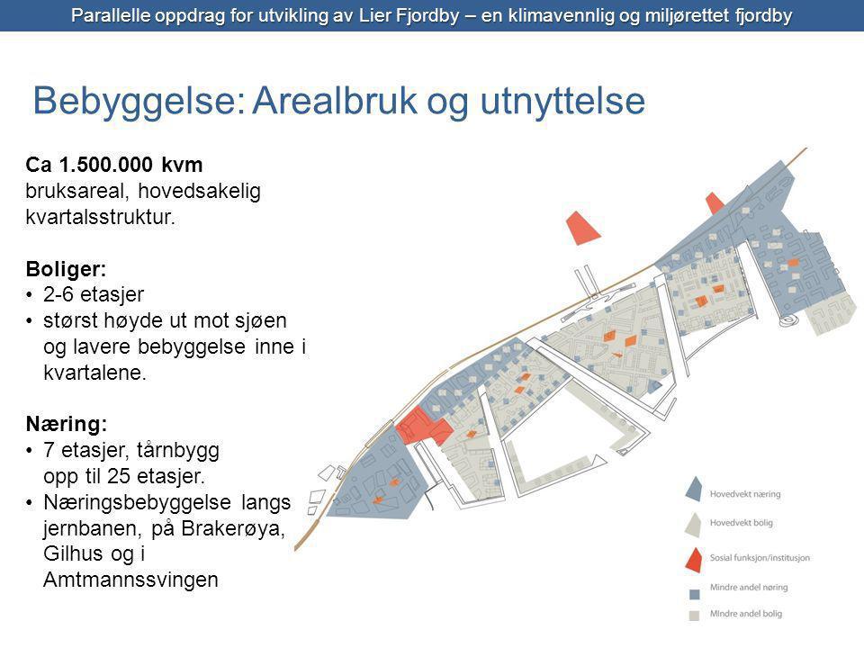 Bebyggelse: Arealbruk og utnyttelse Parallelle oppdrag for utvikling av Lier Fjordby – en klimavennlig og miljørettet fjordby Ca 1.500.000 kvm bruksareal, hovedsakelig kvartalsstruktur.