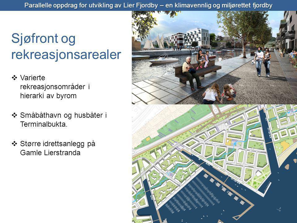 Sjøfront, bymiljø og bomiljø  Varierte rekreasjonsområder i hierarki av byrom  Småbåthavn og husbåter i Terminalbukta.