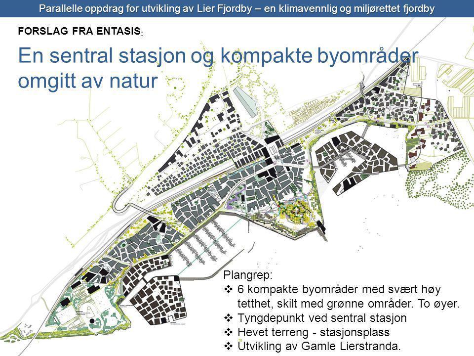 Entasis Parallelle oppdrag for utvikling av Lier Fjordby – en klimavennlig og miljørettet fjordby FORSLAG FRA ENTASIS : En sentral stasjon og kompakte byområder omgitt av natur Plangrep:  6 kompakte byområder med svært høy tetthet, skilt med grønne områder.