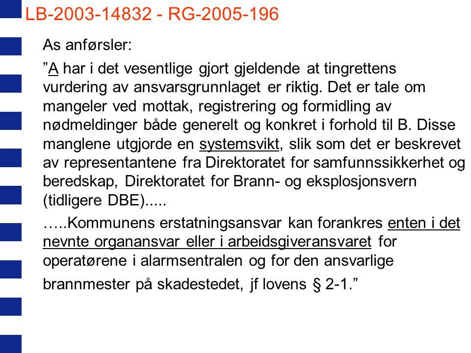 """LB-2003-14832 - RG-2005-196 As anførsler: """"A har i det vesentlige gjort gjeldende at tingrettens vurdering av ansvarsgrunnlaget er riktig. Det er tale"""