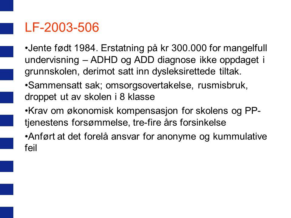 LF-2003-506 Jente født 1984. Erstatning på kr 300.000 for mangelfull undervisning – ADHD og ADD diagnose ikke oppdaget i grunnskolen, derimot satt inn