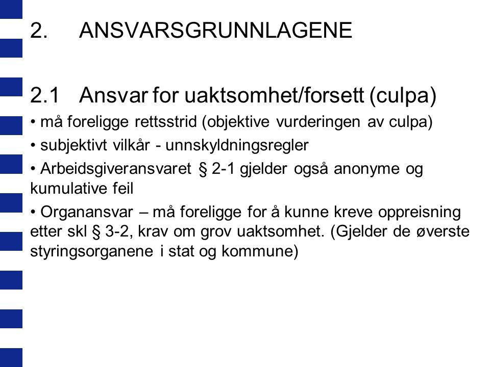2.ANSVARSGRUNNLAGENE 2.1Ansvar for uaktsomhet/forsett (culpa) må foreligge rettsstrid (objektive vurderingen av culpa) subjektivt vilkår - unnskyldnin