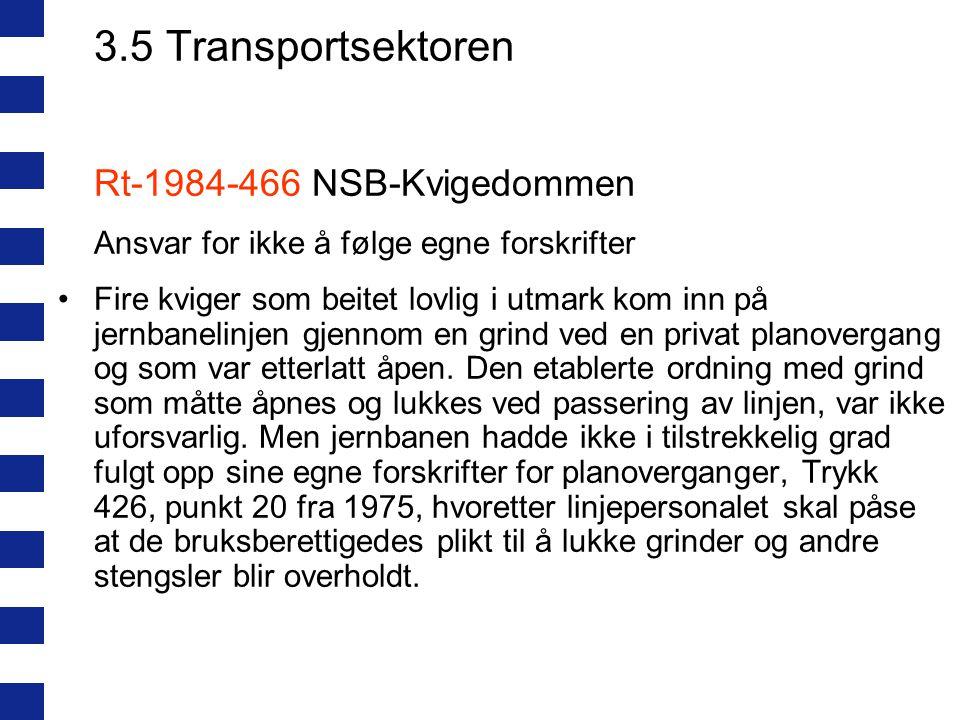 3.5 Transportsektoren Rt-1984-466 NSB-Kvigedommen Ansvar for ikke å følge egne forskrifter Fire kviger som beitet lovlig i utmark kom inn på jernbanel