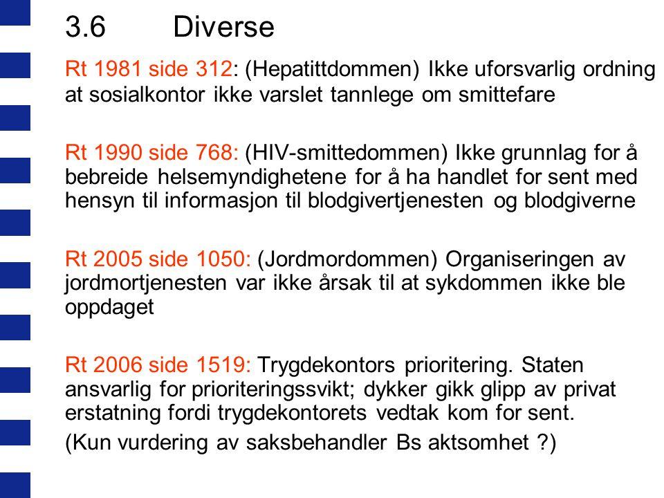 3.6Diverse Rt 1981 side 312: (Hepatittdommen) Ikke uforsvarlig ordning at sosialkontor ikke varslet tannlege om smittefare Rt 1990 side 768: (HIV-smit