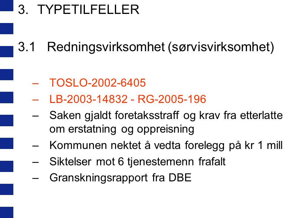 3.TYPETILFELLER 3.1Redningsvirksomhet (sørvisvirksomhet) –TOSLO-2002-6405 –LB-2003-14832 - RG-2005-196 –Saken gjaldt foretaksstraff og krav fra etterl