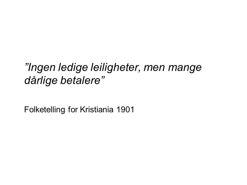 Ingen ledige leiligheter, men mange dårlige betalere Folketelling for Kristiania 1901