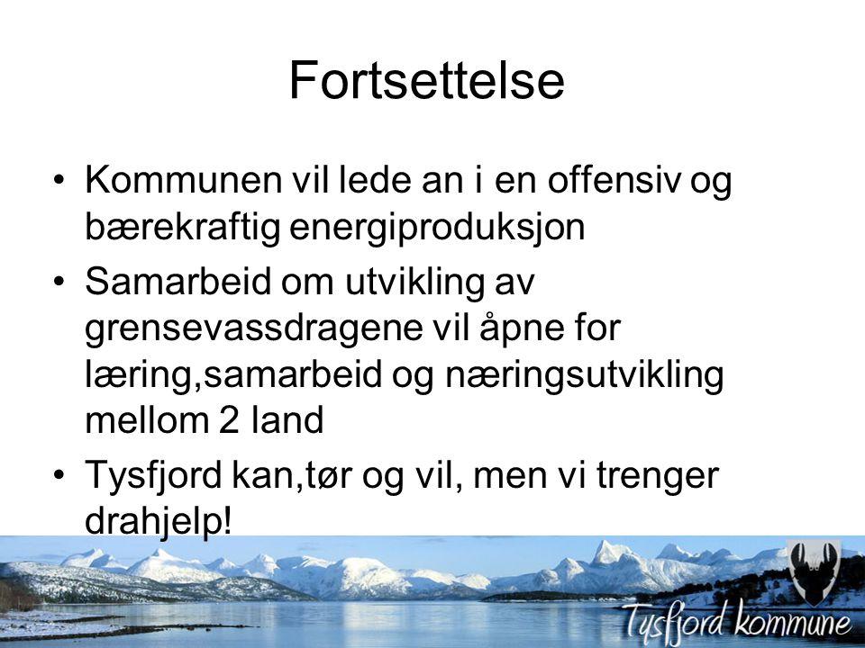 Fortsettelse Kommunen vil lede an i en offensiv og bærekraftig energiproduksjon Samarbeid om utvikling av grensevassdragene vil åpne for læring,samarbeid og næringsutvikling mellom 2 land Tysfjord kan,tør og vil, men vi trenger drahjelp!