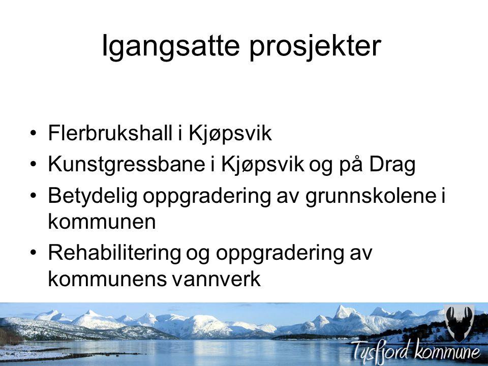 Igangsatte prosjekter Flerbrukshall i Kjøpsvik Kunstgressbane i Kjøpsvik og på Drag Betydelig oppgradering av grunnskolene i kommunen Rehabilitering og oppgradering av kommunens vannverk
