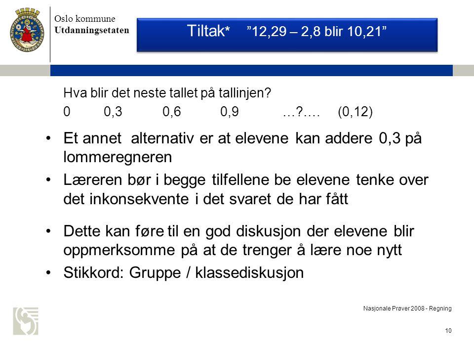 Oslo kommune Utdanningsetaten 10 Nasjonale Prøver 2008 - Regning Hva blir det neste tallet på tallinjen.
