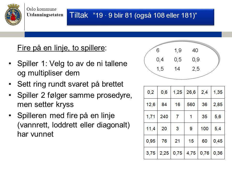Oslo kommune Utdanningsetaten Fire på en linje, to spillere: Spiller 1: Velg to av de ni tallene og multipliser dem Sett ring rundt svaret på brettet Spiller 2 følger samme prosedyre, men setter kryss Spilleren med fire på en linje (vannrett, loddrett eller diagonalt) har vunnet Nasjonale Prøver 2008 - Regning Tiltak 19 ∙ 9 blir 81 (også 108 eller 181)