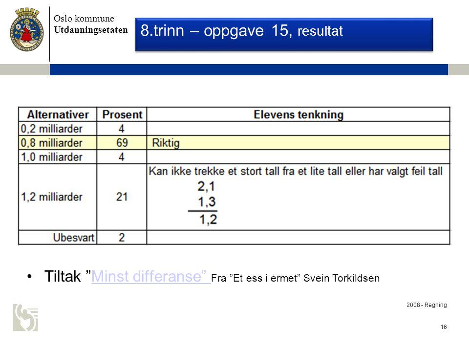 Oslo kommune Utdanningsetaten 16 Nasjonale Prøver 2008 - Regning 8.trinn – oppgave 15, resultat Tiltak Minst differanse Fra Et ess i ermet Svein TorkildsenMinst differanse