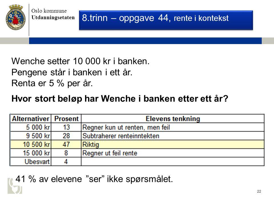 Oslo kommune Utdanningsetaten 22 Nasjonale Prøver 2008 - Regning Wenche setter 10 000 kr i banken.