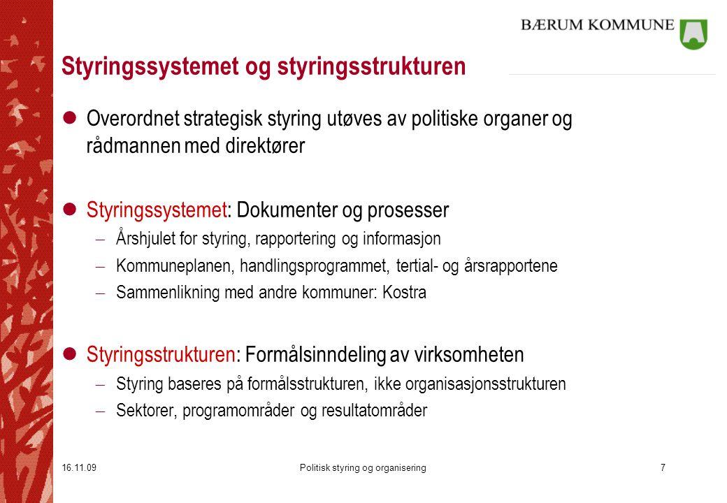 16.11.09Politisk styring og organisering7 Styringssystemet og styringsstrukturen lOverordnet strategisk styring utøves av politiske organer og rådmann