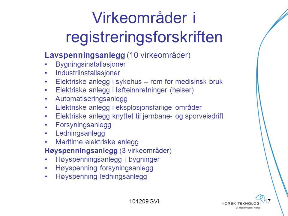 101209 GVi17 Virkeområder i registreringsforskriften Lavspenningsanlegg (10 virkeområder) Bygningsinstallasjoner Industriinstallasjoner Elektriske anl