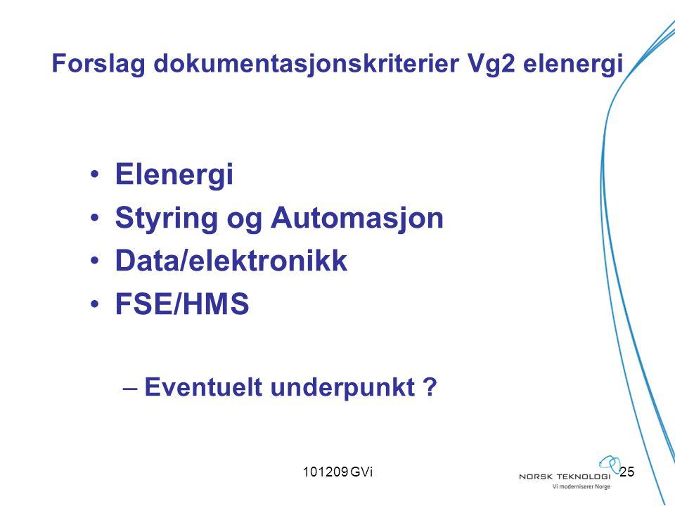 101209 GVi25 Forslag dokumentasjonskriterier Vg2 elenergi Elenergi Styring og Automasjon Data/elektronikk FSE/HMS –Eventuelt underpunkt ?