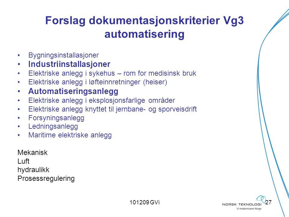 101209 GVi27 Forslag dokumentasjonskriterier Vg3 automatisering Bygningsinstallasjoner Industriinstallasjoner Elektriske anlegg i sykehus – rom for me