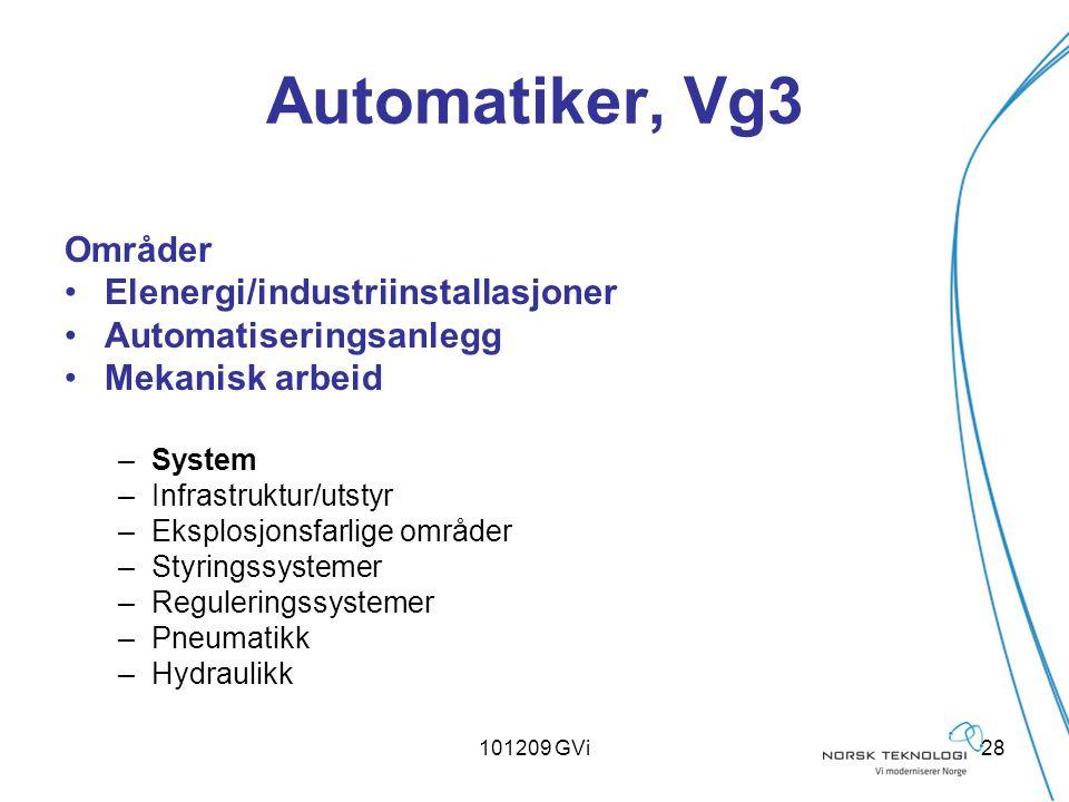 101209 GVi28 Automatiker, Vg3 Områder Elenergi/industriinstallasjoner Automatiseringsanlegg Mekanisk arbeid –System –Infrastruktur/utstyr –Eksplosjons