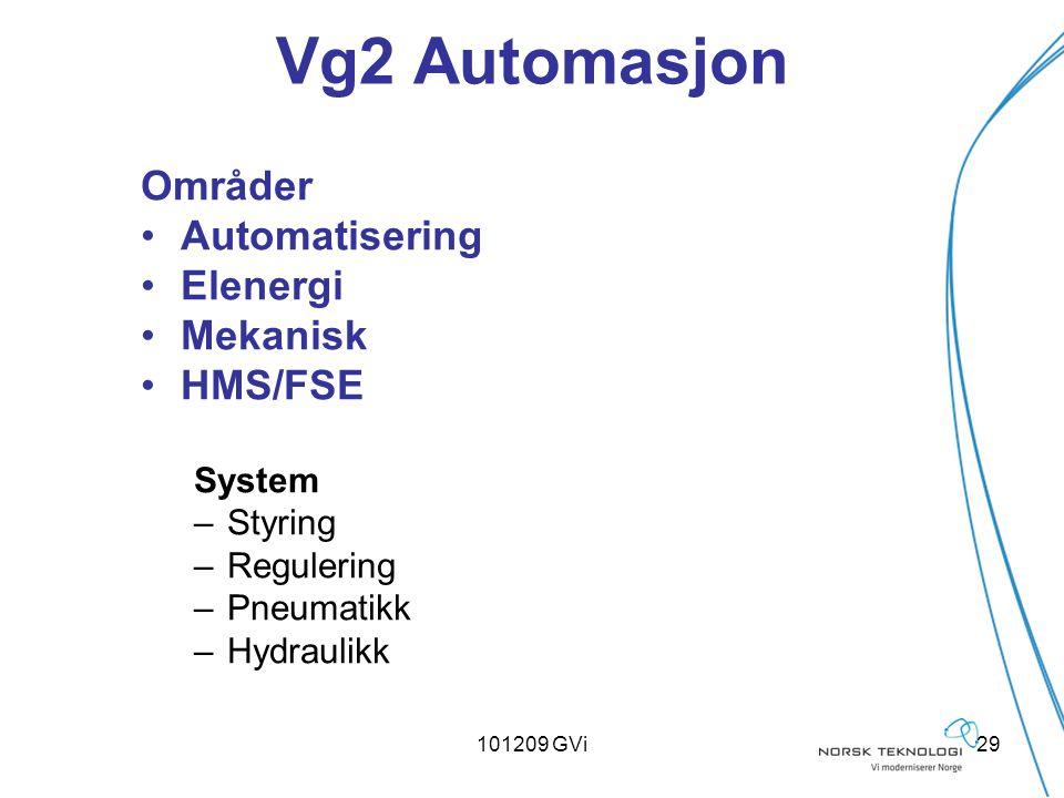 101209 GVi29 Vg2 Automasjon Områder Automatisering Elenergi Mekanisk HMS/FSE System –Styring –Regulering –Pneumatikk –Hydraulikk