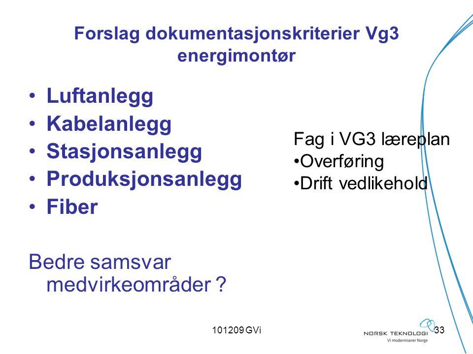 101209 GVi33 Forslag dokumentasjonskriterier Vg3 energimontør Luftanlegg Kabelanlegg Stasjonsanlegg Produksjonsanlegg Fiber Bedre samsvar medvirkeområ