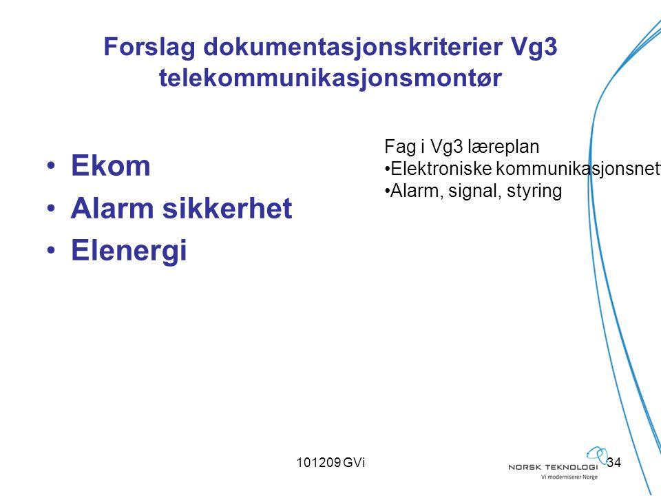 101209 GVi34 Forslag dokumentasjonskriterier Vg3 telekommunikasjonsmontør Ekom Alarm sikkerhet Elenergi Fag i Vg3 læreplan Elektroniske kommunikasjons