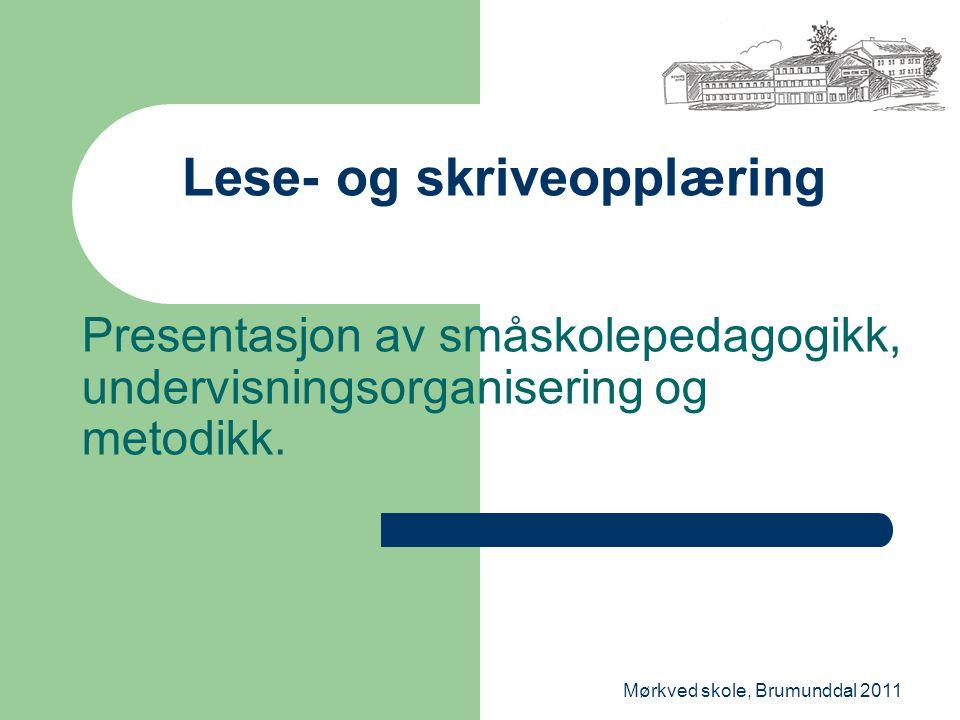 Mørkved skole, Brumunddal 2011 Lese- og skriveopplæring Presentasjon av småskolepedagogikk, undervisningsorganisering og metodikk.