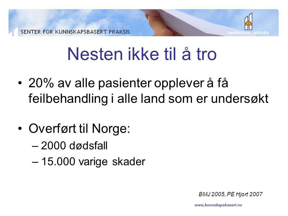 www,kunnskapsbasert.no Gjelder det Norge.
