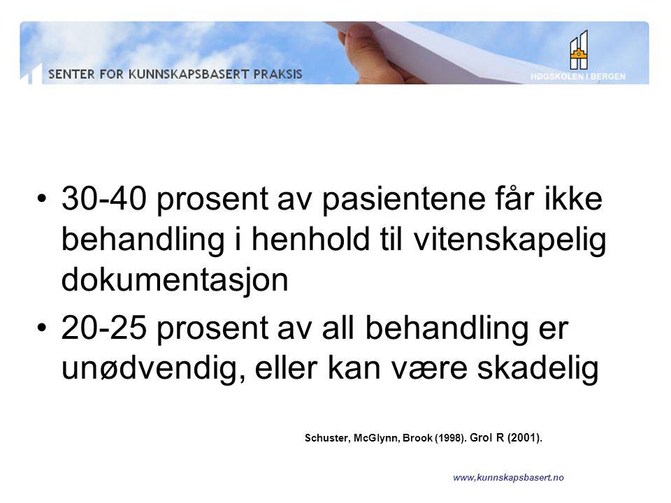 www,kunnskapsbasert.no Jeg skal snakke om Trinnene i kunnskapsbasert praksis