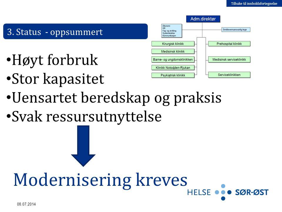 Tilbake til innholdsfortegnelse 08.07.2014 3. Status - oppsummert Høyt forbruk Stor kapasitet Uensartet beredskap og praksis Svak ressursutnyttelse Mo