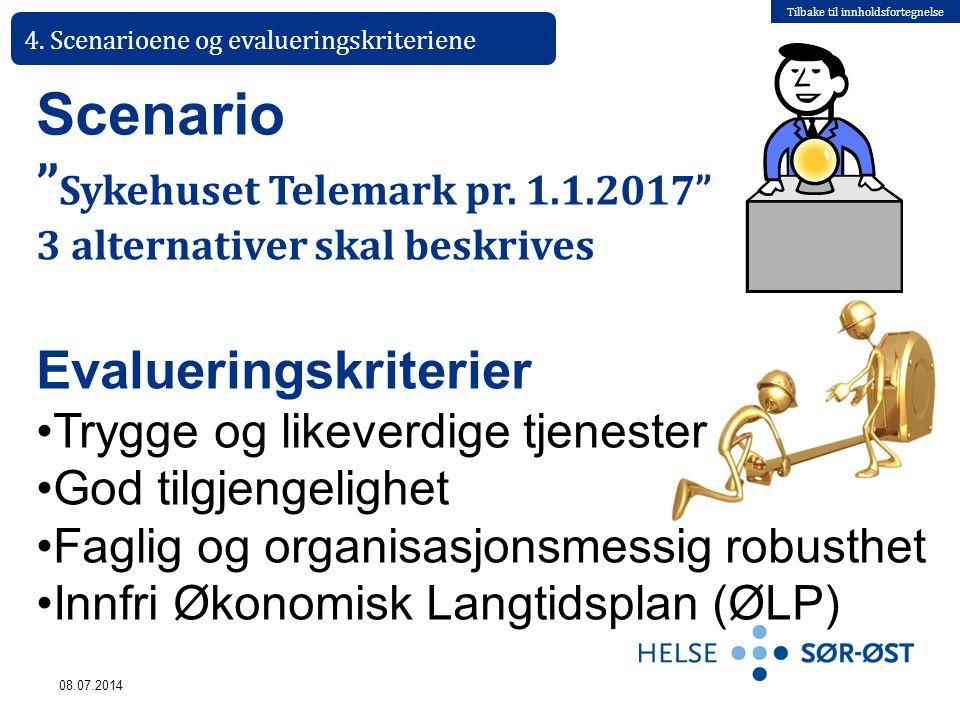 """Tilbake til innholdsfortegnelse 08.07.2014 4. Scenarioene og evalueringskriteriene Scenario """" Sykehuset Telemark pr. 1.1.2017"""" 3 alternativer skal bes"""