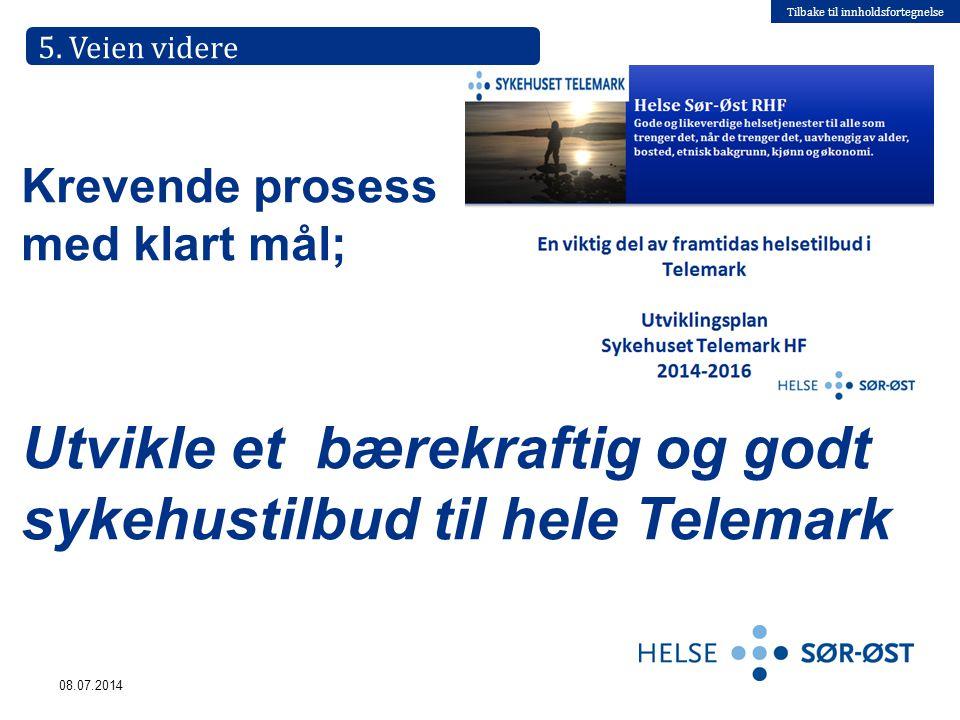 Tilbake til innholdsfortegnelse 08.07.2014 Krevende prosess med klart mål; Utvikle et bærekraftig og godt sykehustilbud til hele Telemark 5. Veien vid