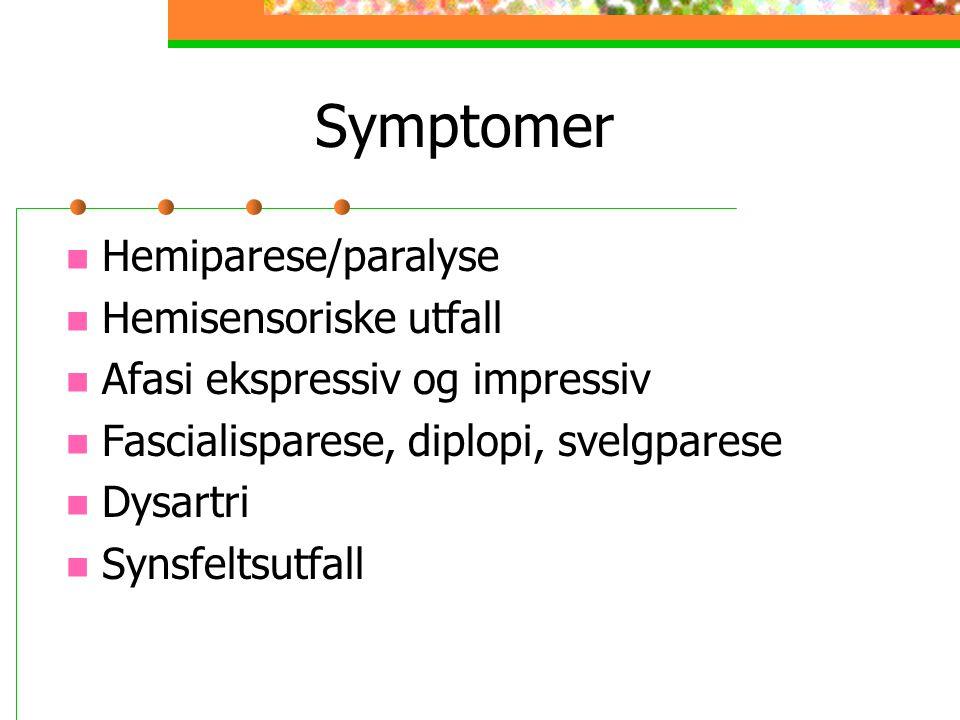Symptomer Hemiparese/paralyse Hemisensoriske utfall Afasi ekspressiv og impressiv Fascialisparese, diplopi, svelgparese Dysartri Synsfeltsutfall