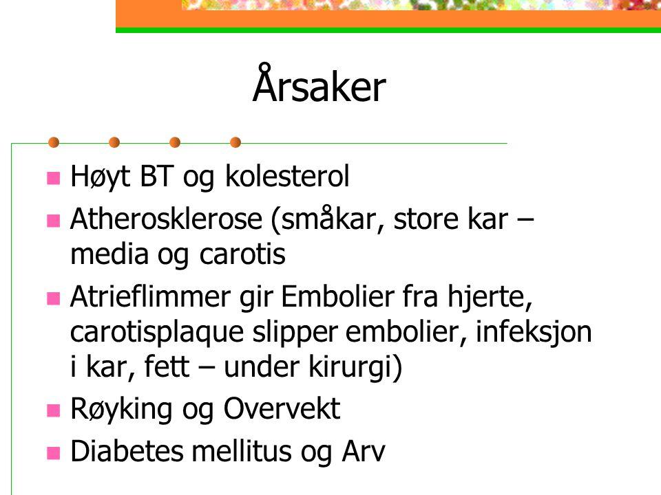 Årsaker Høyt BT og kolesterol Atherosklerose (småkar, store kar – media og carotis Atrieflimmer gir Embolier fra hjerte, carotisplaque slipper embolier, infeksjon i kar, fett – under kirurgi) Røyking og Overvekt Diabetes mellitus og Arv